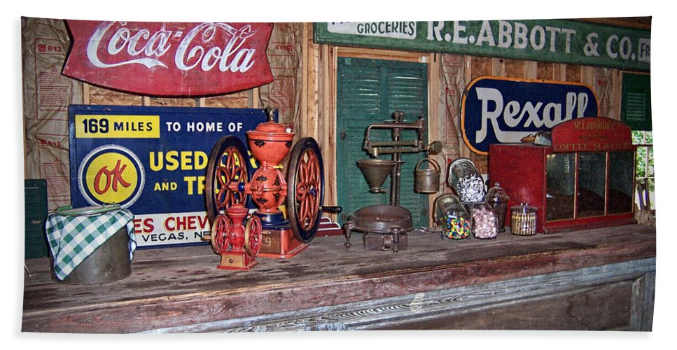 Coca Cola Bath Sheet featuring the photograph Coca Cola - Rexall - Ok Used Tires Signs And Other Antiques by Kathy Clark