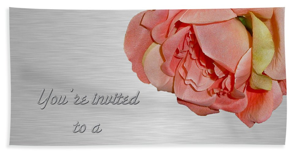 Invitation Hand Towel featuring the photograph Cocktail Party Invitation - Fabric Rose by Mother Nature