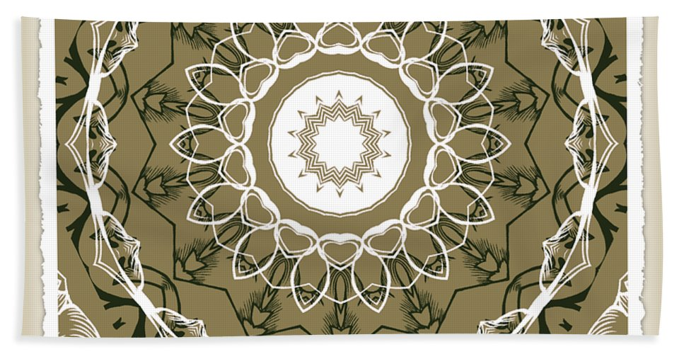 Intricate Bath Sheet featuring the digital art Coffee Flowers 1 Olive Medallion Scrapbook by Angelina Vick
