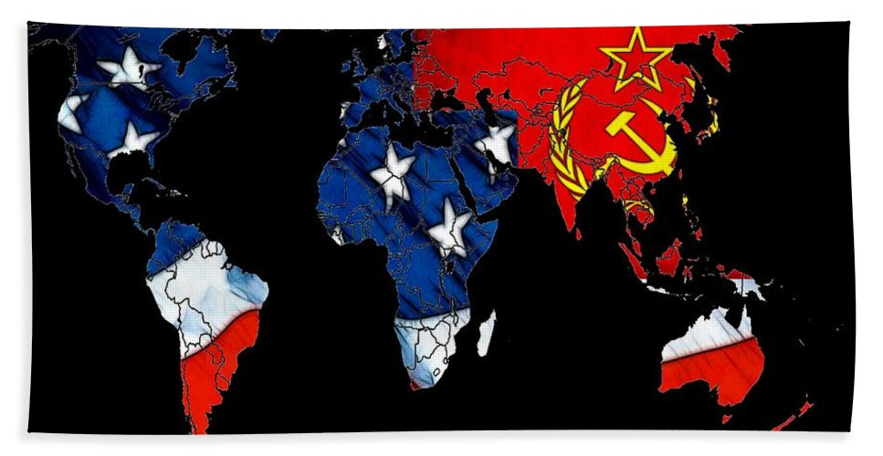 Map World Digital Art Atlas Country America Africa Asia Europe Australia Color Colorful Expressionism Impressionism Save American Usa Stars Stripes Flag Bath Sheet featuring the digital art Cold War Map by Steve K