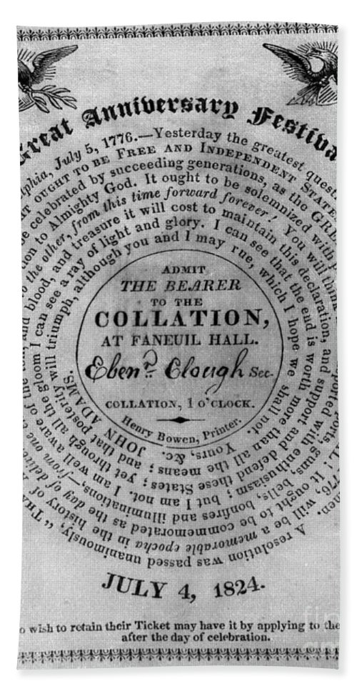 1824 Bath Sheet featuring the photograph Collation Ticket, 1824 by Granger