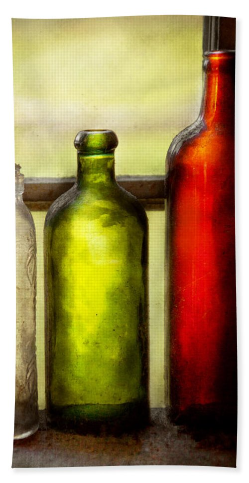 Bottles Hand Towel featuring the photograph Collector - Bottles - Still Life Of Three Bottles by Mike Savad