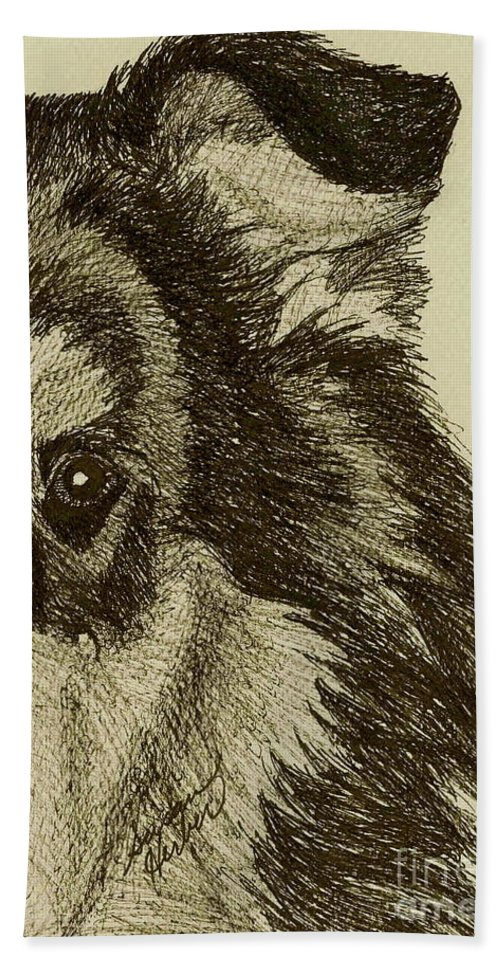 Collie Bath Sheet featuring the drawing Collie by Susan Herber