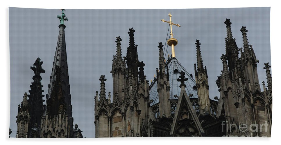 Christianity Hand Towel featuring the photograph Cologne Cathedral Towers by Bob Christopher