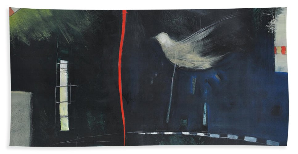 Bird Bath Sheet featuring the painting Colombe Dans Le Cirque De Nuit by Tim Nyberg