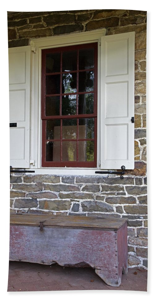 Colonial Hand Towel featuring the photograph Colonial Shutters Window Frame Stone Wall Wood Box by John Stephens
