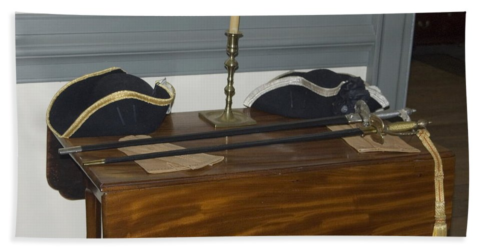 Officers Swords Hand Towel featuring the photograph Colonial Soldiers Artifacts by Sally Weigand