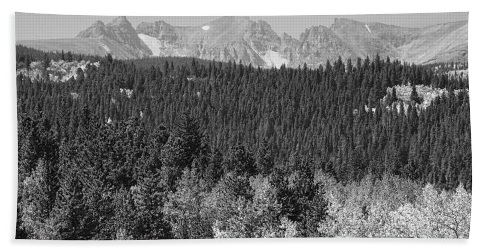 Colorado Hand Towel featuring the photograph Colorado Rocky Mountain Continental Divide View Bw by James BO Insogna
