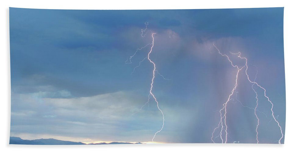 July Hand Towel featuring the photograph Colorado Rocky Mountains Foothills Lightning Strikes 2 by James BO Insogna
