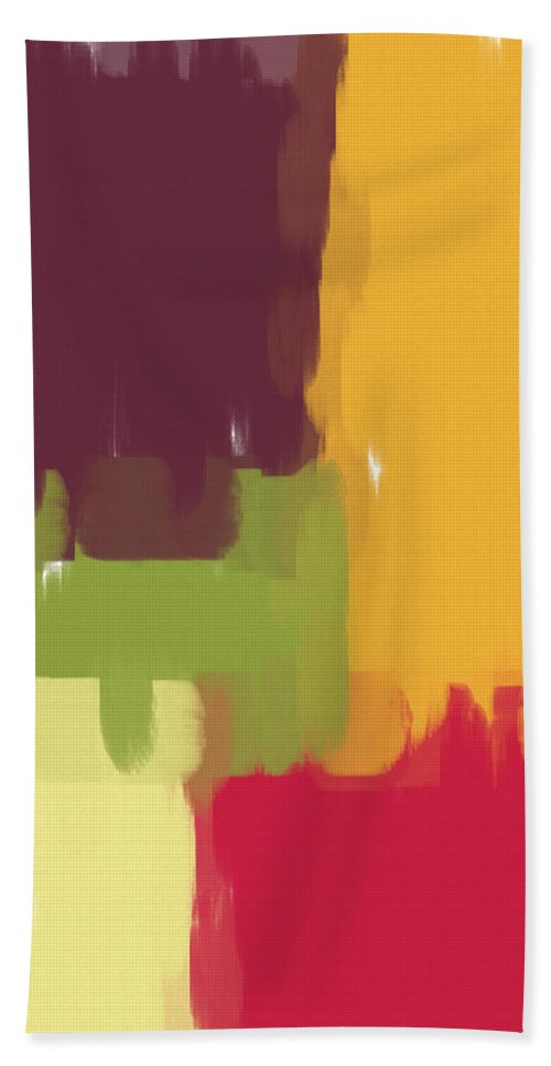 Abstract Bath Sheet featuring the painting Colorblock Winter by Heidi Smith
