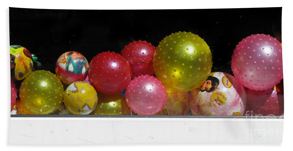 Still Life Hand Towel featuring the photograph Colorful Balls In The Shop Window by Ausra Huntington nee Paulauskaite