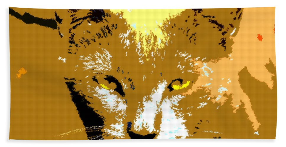 Art Bath Sheet featuring the painting Colorful Cat by David Lee Thompson