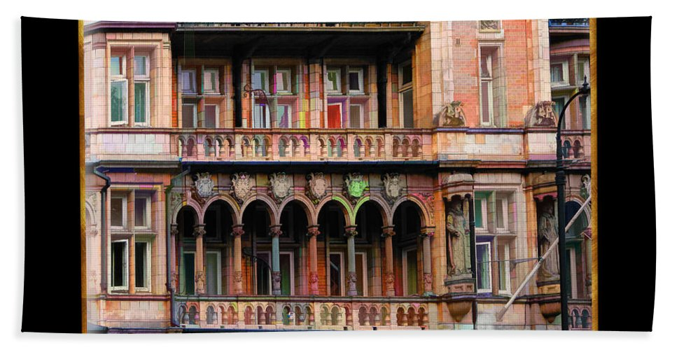 Architecture Bath Sheet featuring the painting Colorful Fastasy British Building by Elaine Plesser