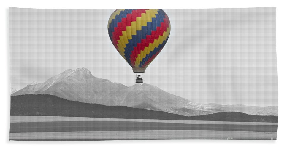 'hot Air Balloon' Hand Towel featuring the photograph Colorful Hot Air Balloon And Longs Peak by James BO Insogna
