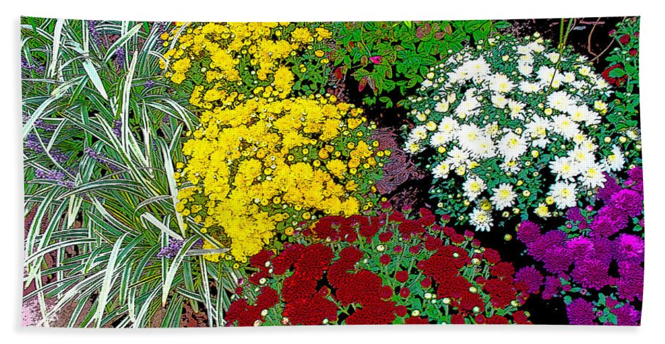 Bature Hand Towel featuring the photograph Colorful Mums Photo Art by Debbie Portwood