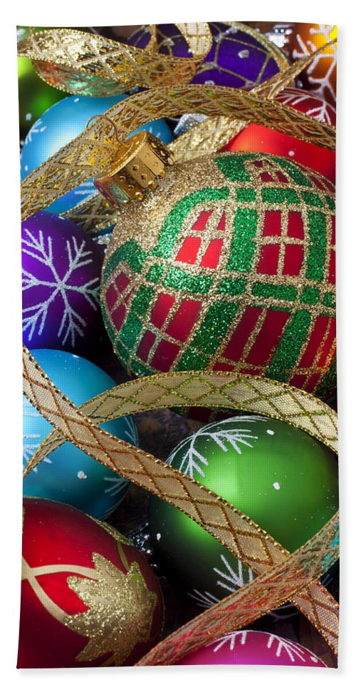 Colorful Ornaments Bath Sheet featuring the photograph Colorful Ornaments With Ribbon by Garry Gay