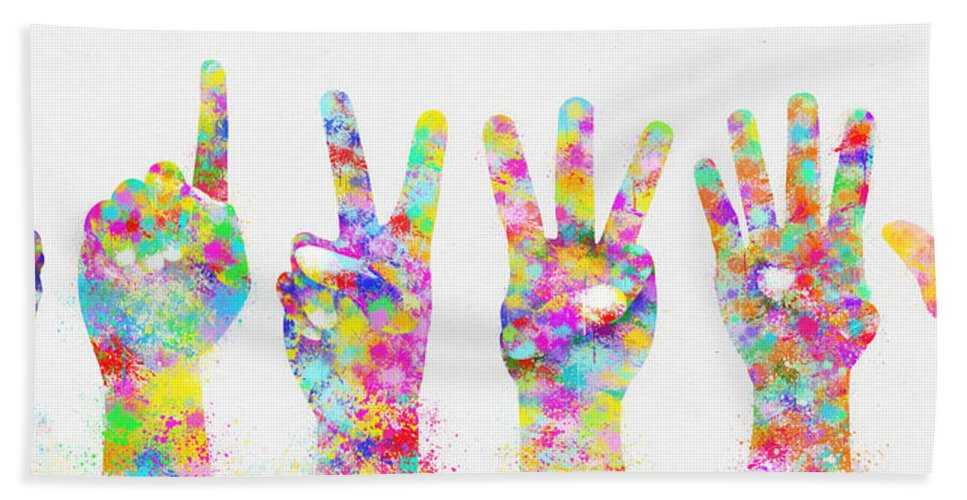 Arm Bath Sheet featuring the painting Colorful Painting Of Hands Number 0-5 by Setsiri Silapasuwanchai