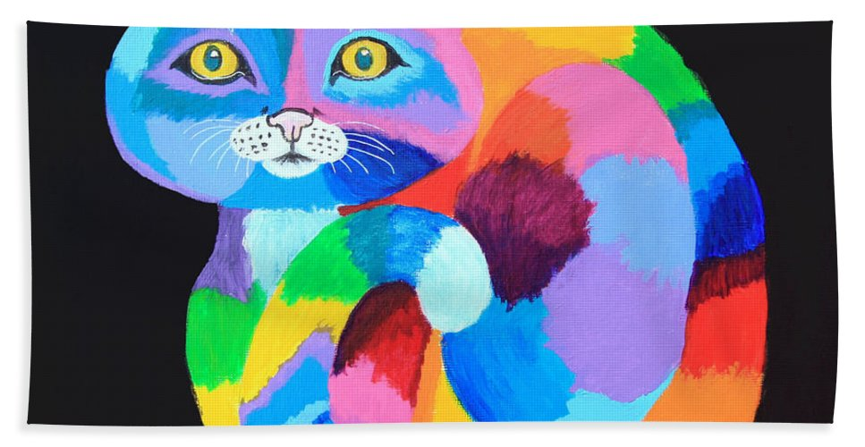 Cat Bath Sheet featuring the painting Colorful Rainbow Cat by Nick Gustafson