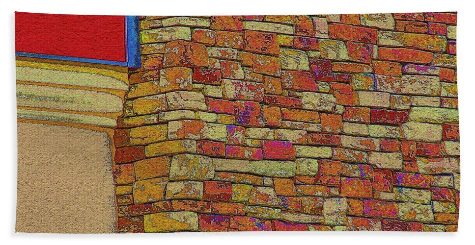 Arcitecture Bath Sheet featuring the digital art Colorful Stacked Stone by Debbie Portwood