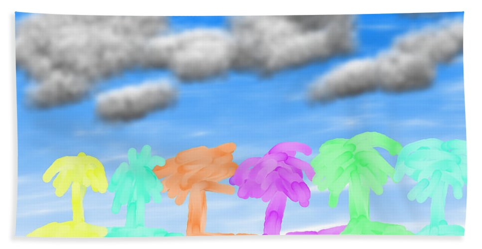 Palms Bath Sheet featuring the pastel Colors Of The Palms by Carly Stroman