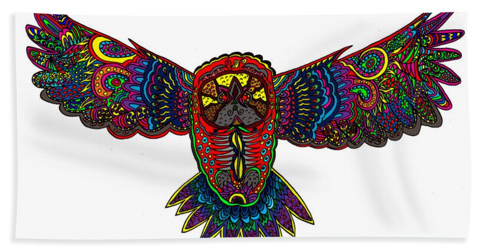 Owl Hand Towel featuring the mixed media Coloured Owl by Karen Elzinga