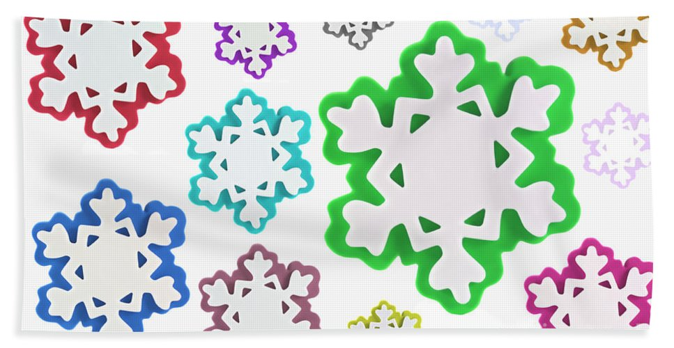 Background Hand Towel featuring the photograph Coloured Snowflakes Isolated by Simon Bratt Photography LRPS