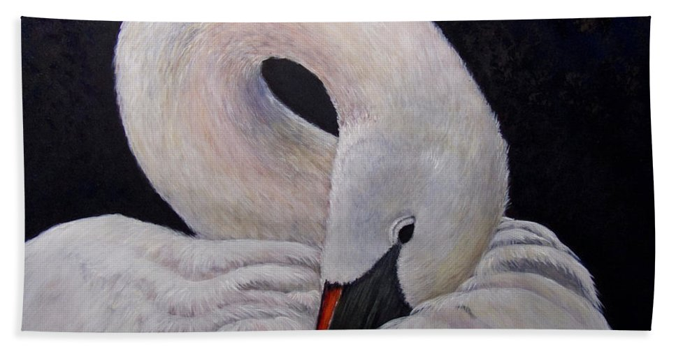 Swan Bath Sheet featuring the painting Comfort by Dee Carpenter