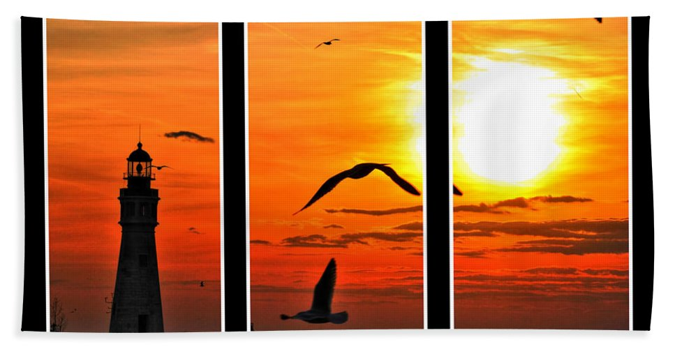 Hand Towel featuring the photograph Coming Home Sunset Triptych Series by Michael Frank Jr