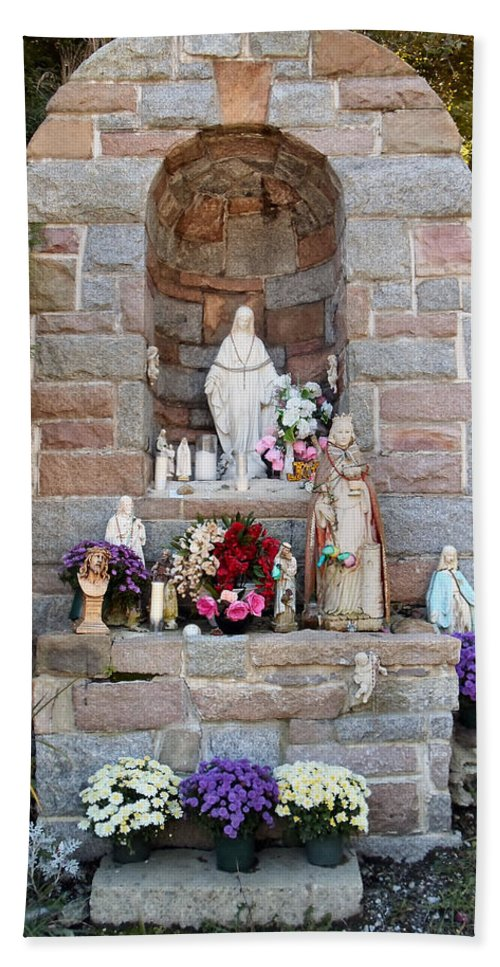 Shrine Hand Towel featuring the photograph Comparison Mother Mary Shrine by Art Dingo