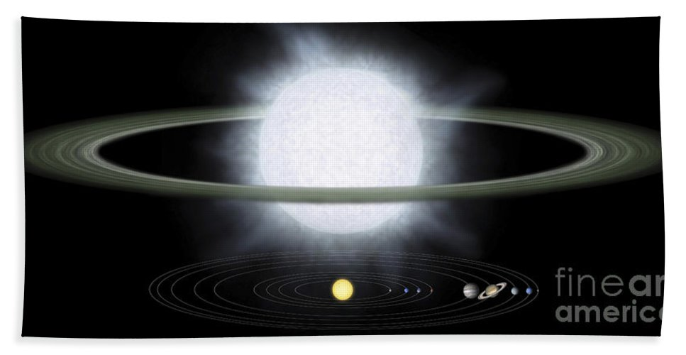 Hypergiant Bath Sheet featuring the digital art Comparison Of The Size Of A Hypergiant by Stocktrek Images