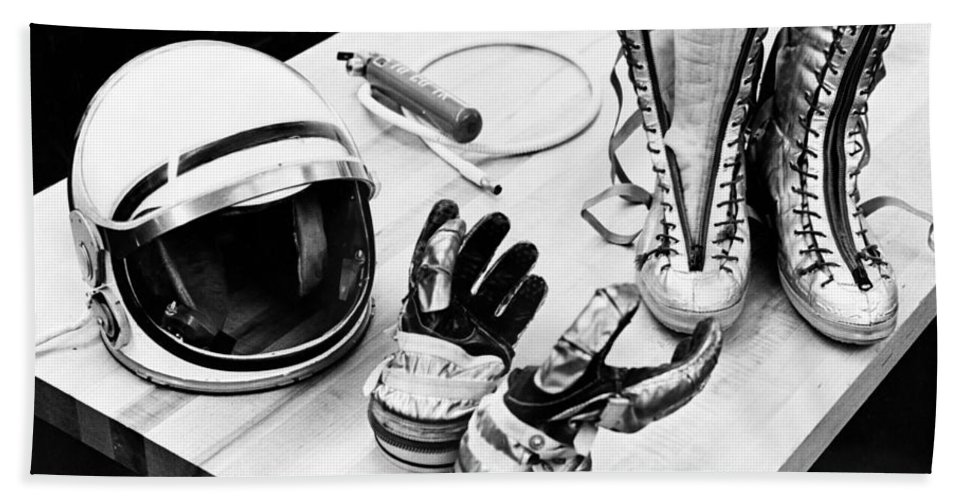 Display Bath Sheet featuring the photograph Components Of The Mercury Spacesuit by Stocktrek Images