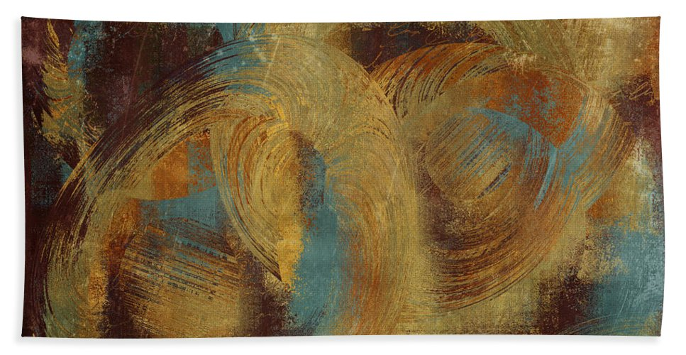 Abstract Bath Sheet featuring the digital art Composix 01 - At08 by Variance Collections