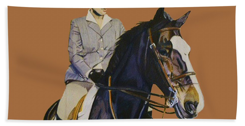 Hunter Hand Towel featuring the painting Concentration - Hunter Jumper Horse And Rider by Patricia Barmatz
