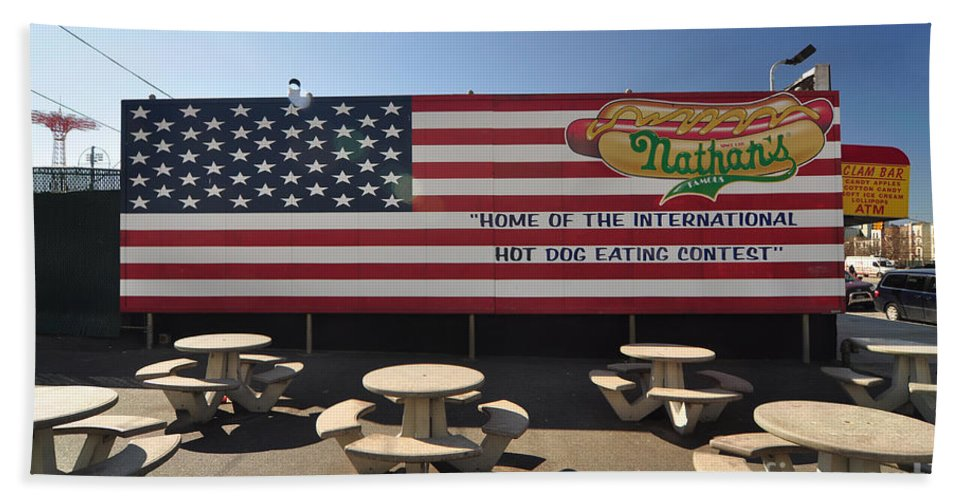 American Flag Bath Sheet featuring the photograph Coney Island by Mark Gilman