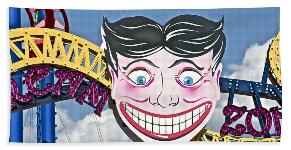 Coney Island Joker Ride Amusement New York Bath Sheet featuring the photograph Coney Joker by Alice Gipson