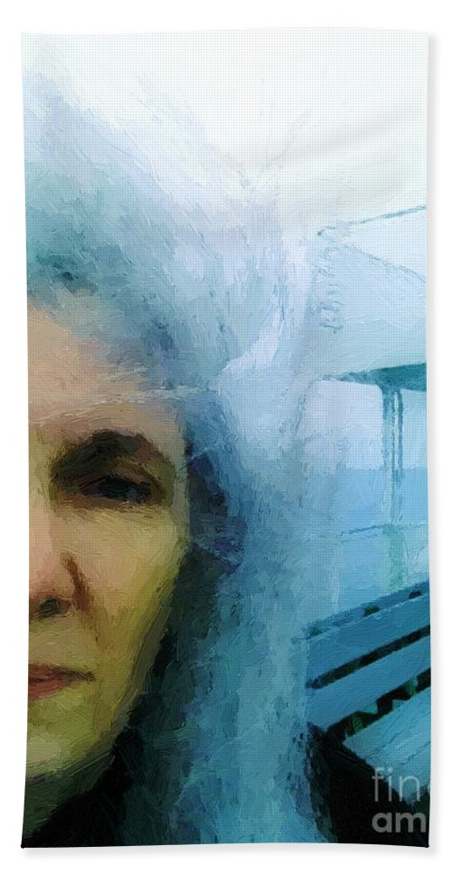 Woman Hand Towel featuring the painting Confronting The Ferryman by RC DeWinter