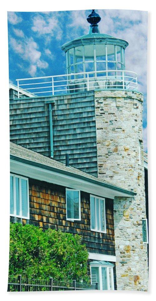 New England Bath Sheet featuring the digital art Conneticut Coastal Home by Lizi Beard-Ward