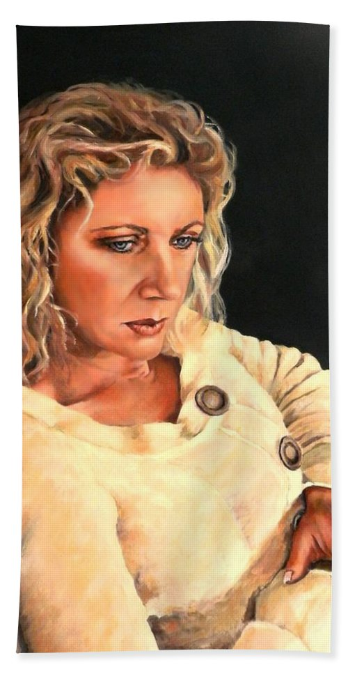 Portrait Hand Towel featuring the painting Contemplation by Jolante Hesse