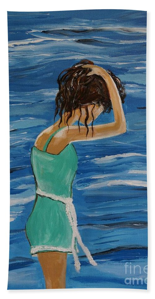 Woman Hand Towel featuring the painting Cool Ocean Breeze by Leslie Allen