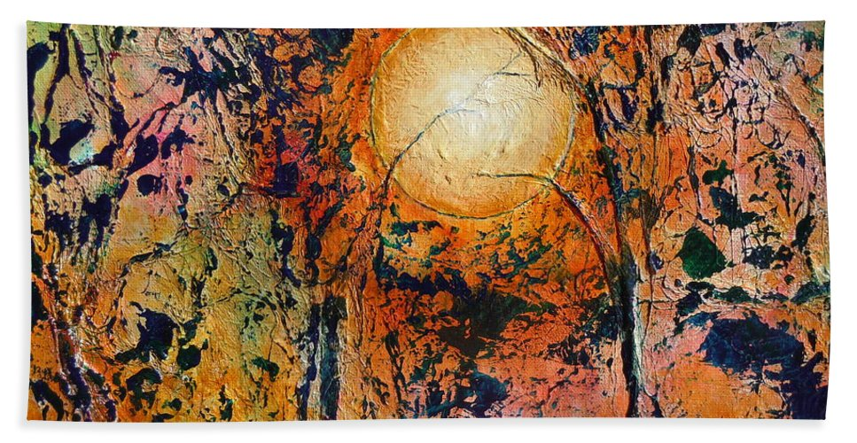 Abstract Landscape Bath Sheet featuring the painting Copper Moon by Dan Whittemore