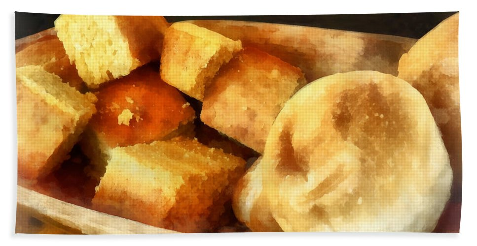 Cook Bath Sheet featuring the photograph Cornbread And Rolls by Susan Savad