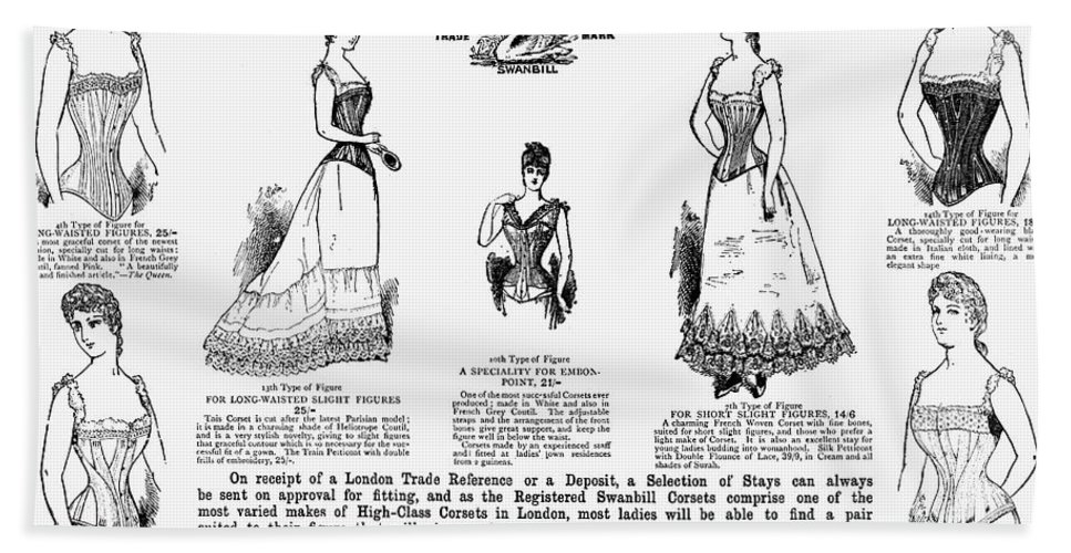 1892 Hand Towel featuring the photograph Corset Advertisement, 1892 by Granger