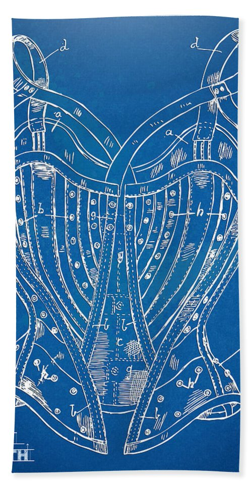 Corset Hand Towel featuring the digital art Corset Patent Series 1905 French by Nikki Marie Smith