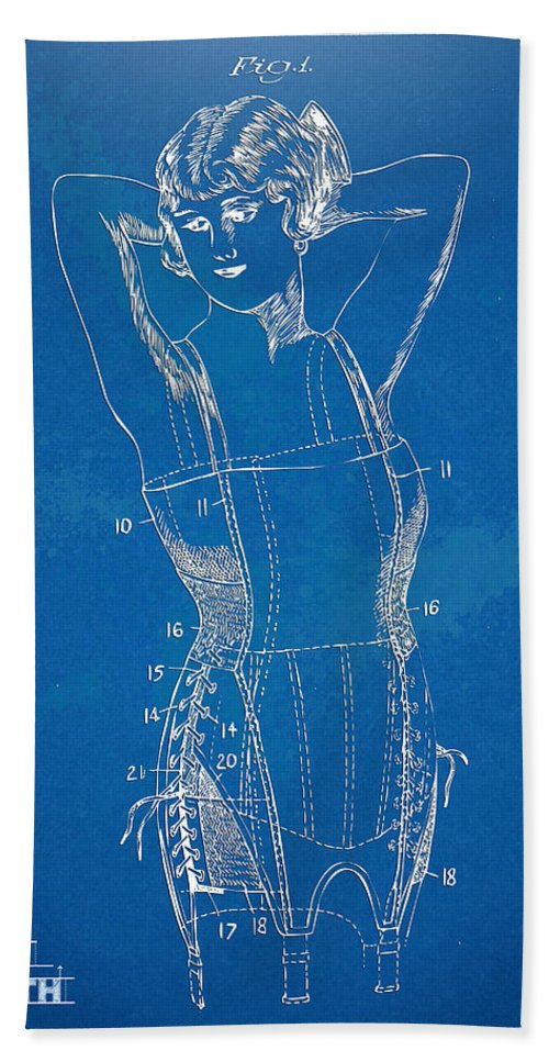Corset Hand Towel featuring the digital art Corset Patent Series 1924 Figure 1 by Nikki Marie Smith