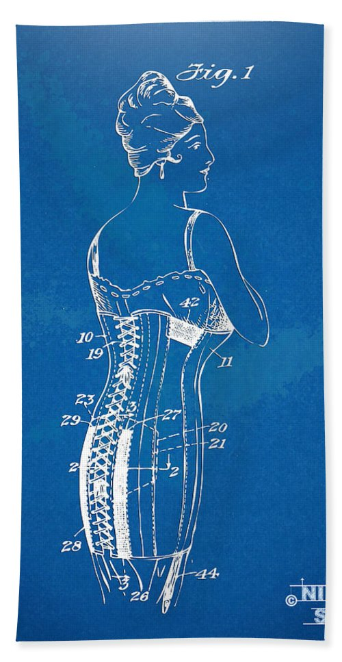 Corset Hand Towel featuring the digital art Corset Patent Series 1924 by Nikki Marie Smith