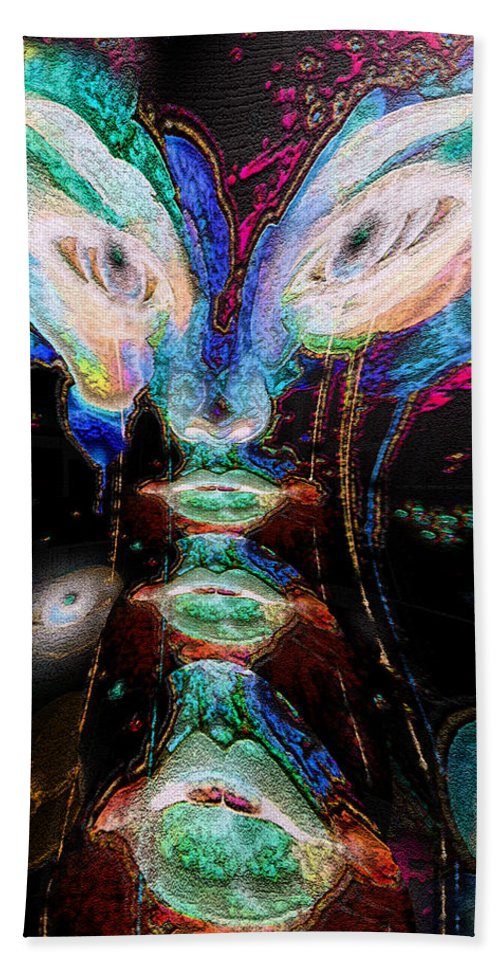 Digital Art Bath Sheet featuring the digital art Cosmic Smurf by Paula Ayers