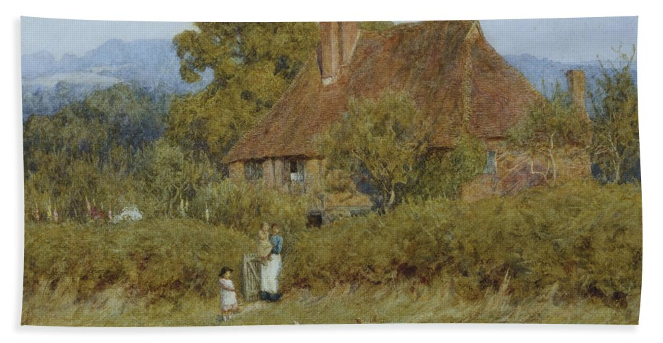 Dusk; Evening; English; Landscape; C19th; C20th; Mother; Children; Child; Baby; Gate; Field; Victorian Bath Sheet featuring the painting Cottage At Broadham Green Surrey In Sunset Light by Helen Allingham