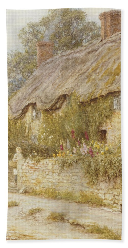Cottage Near Wells Bath Sheet featuring the painting Cottage Near Wells Somerset by Helen Allingham