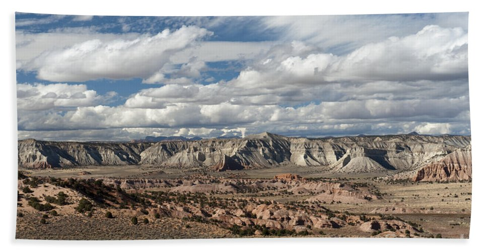 Southwest Hand Towel featuring the photograph Cottonwood Canyon Badlands by Sandra Bronstein