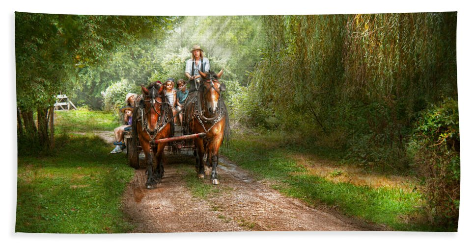 Country Bath Sheet featuring the photograph Country - Horse - The Hay Ride by Mike Savad